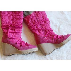 Coach Shoes - Coach | Sofie rabbit fur & suede wedge snow boots